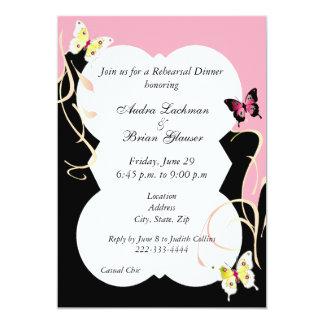 Chic Butterfly Wedding Rehearsal Invitation