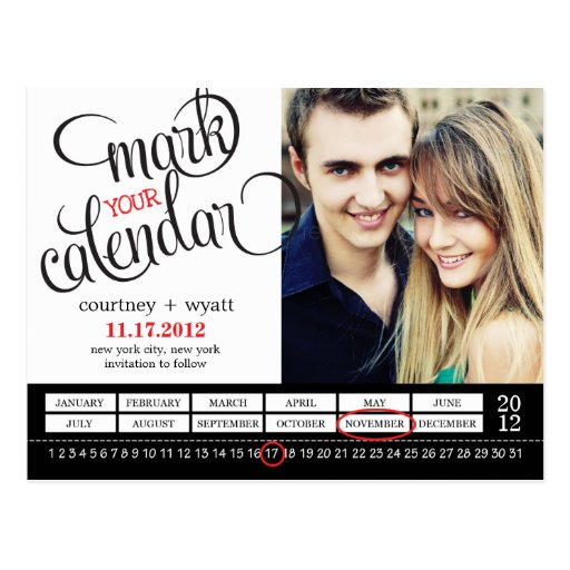 Chic Calendar Photo Save The Date Postcard Postcard