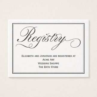 Chic Calligraphy Script Wedding Registry Card