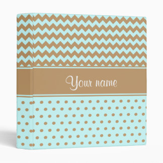 Chic Camel Chevrons Polka Dots Baby Blue Binders