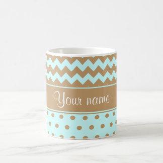 Chic Camel Chevrons Polka Dots Baby Blue Coffee Mug