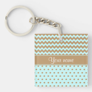 Chic Camel Chevrons Polka Dots Baby Blue Double-Sided Square Acrylic Keychain