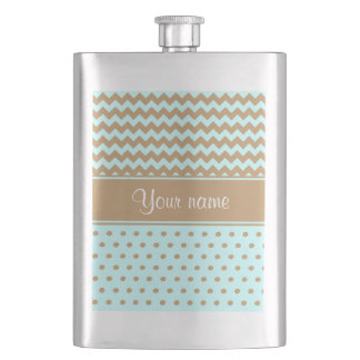 Chic Camel Chevrons Polka Dots Baby Blue Flask