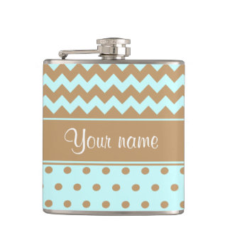 Chic Camel Chevrons Polka Dots Baby Blue Flasks