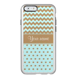 Chic Camel Chevrons Polka Dots Baby Blue Incipio Feather® Shine iPhone 6 Case