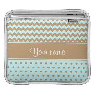 Chic Camel Chevrons Polka Dots Baby Blue iPad Sleeve