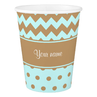 Chic Camel Chevrons Polka Dots Baby Blue Paper Cup