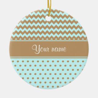 Chic Camel Chevrons Polka Dots Baby Blue Round Ceramic Ornament