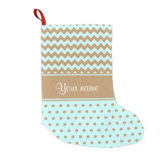 Chic Camel Chevrons Polka Dots Baby Blue Small Christmas Stocking