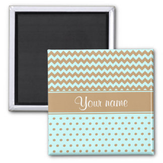 Chic Camel Chevrons Polka Dots Baby Blue Square Magnet