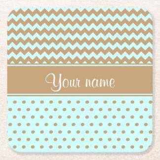 Chic Camel Chevrons Polka Dots Baby Blue Square Paper Coaster