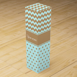 Chic Camel Chevrons Polka Dots Baby Blue Wine Gift Box