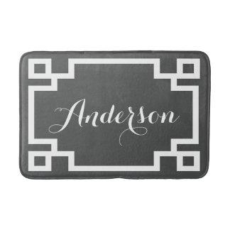 Chic Charcoal and White Greek Key Custom Monogram Bath Mat