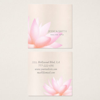Chic charming pale pink watercolor lotus flower square business card