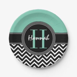 Chic Chevron Birthday Monogram H is for Hannah Paper Plate