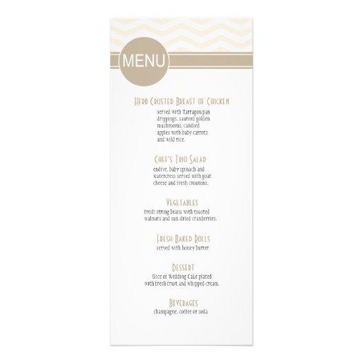 Chic Chevron Dinner Menu   blush Personalized Invite