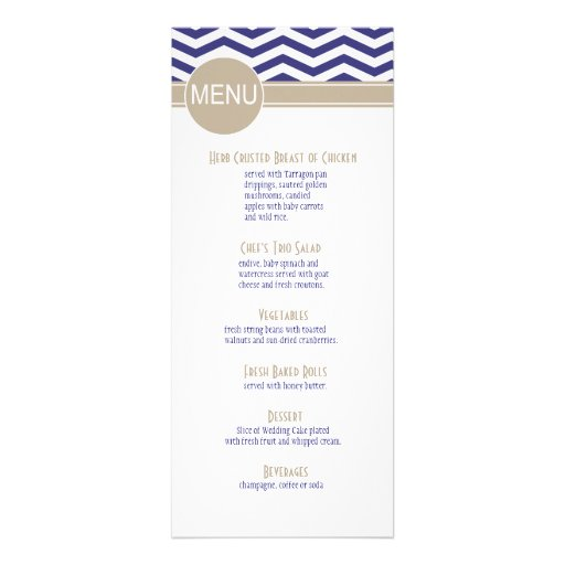 Chic Chevron Dinner Menu | navy Personalized Invite