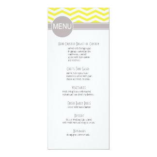 "Chic Chevron Dinner Menu | yellow 4"" X 9.25"" Invitation Card"