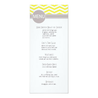 Chic Chevron Dinner Menu | yellow Personalized Announcement