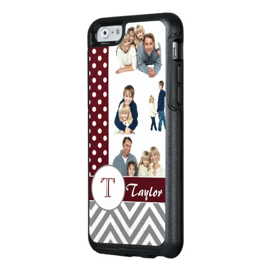 Chic Chevron & Dots Photo Collage w/Custom Name OtterBox iPhone 6/6s Case