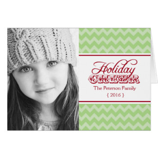 Chic Chevron Holiday Cheer Folded Christmas Greeting Card