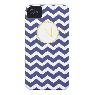 Chic Chevron iPhone Case Navy & White w/ Initial