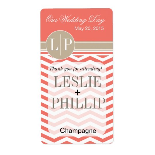 Chic Chevron Monogram | coral Wine/Champagne Label Shipping Label