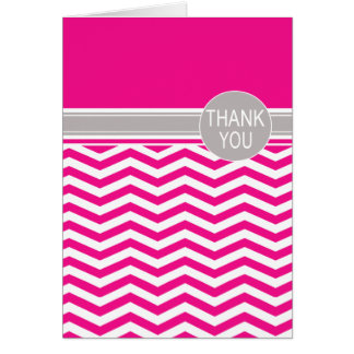 Chic Chevron Monogram | fuschia Thank You Card