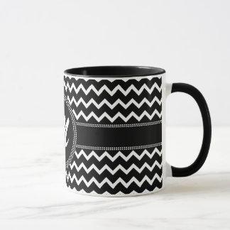 Chic Chevron Monogram M ZigZag in Black and White Mug