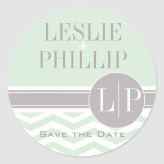 Chic Chevron Monogram | mint Classic Round Sticker