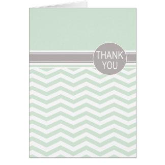 Chic Chevron Monogram | mint Thank You Card