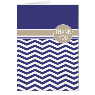 Chic Chevron Monogram | navy Thank You Card