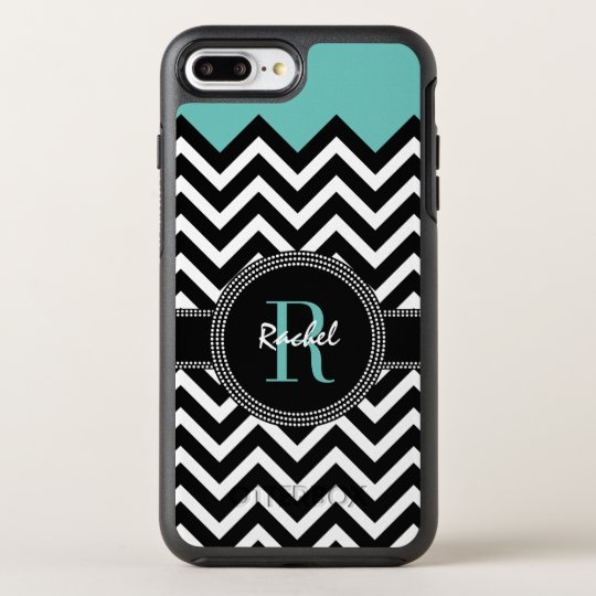 Chic Chevron Name and Monogram OtterBox Symmetry iPhone 7 Plus Case