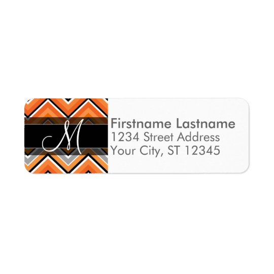Chic Chevron Pattern Black Grey Orange Monogram