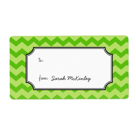 Chic chevron pattern green to from custom gift shipping label