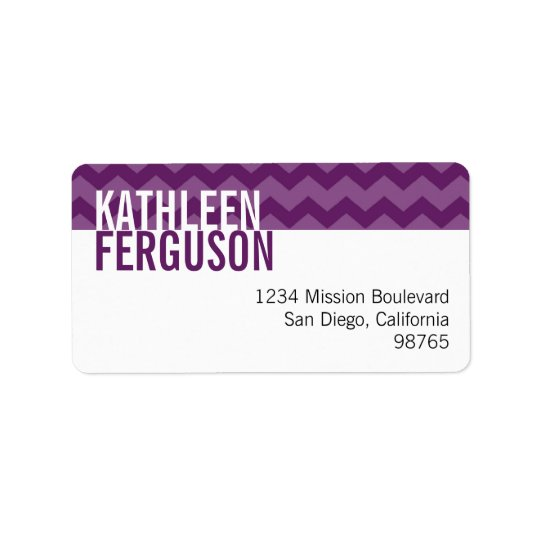 Chic chevron pattern purple custom return address label
