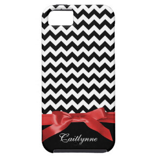 Chic Chevron Stripes BW and Red Ribbon iPhone 5 Covers