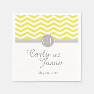 Chic Chevron | yellow grey white Paper Napkins