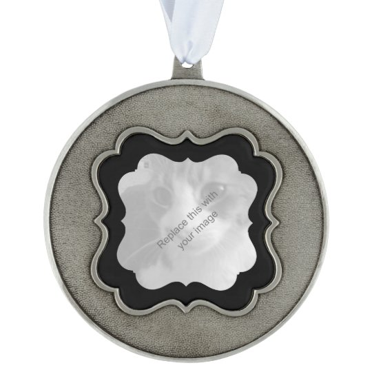 Chic Christmas any occasion Scalloped Pewter Ornament