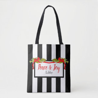 CHIC CHRISTMAS TOTE_PEACE AND JOY TOTE BAG