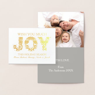Chic Christmas  typography Joy Happy Holidays Foil Card