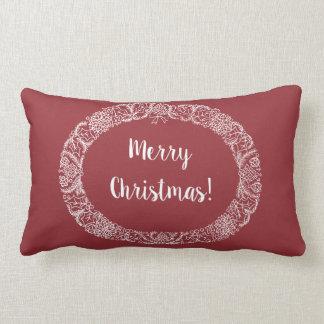 Chic Christmas Wreath Design White on Deep Red Lumbar Pillow
