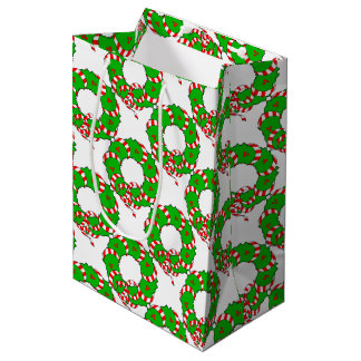 CHIC CHRISTMAS WREATH GIFT BAG _RED/GREEN/WHITE