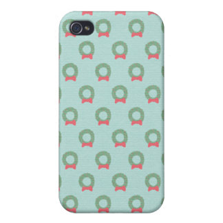 Chic Christmas Wreath Pattern Cases For iPhone 4