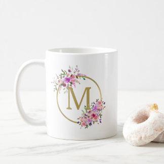 Chic Circle Monogram Watercolor Floral & Gold Foil Coffee Mug