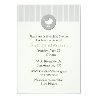 Chic Citrus Green and Gray Baby Shower Invitation