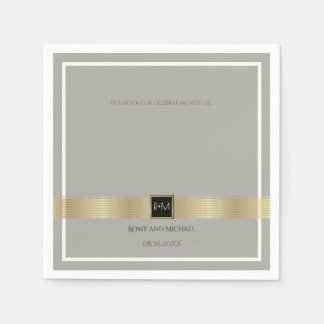 chic & classy gold lines on gray wedding monogram disposable napkins