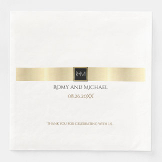 chic & classy gold lines wedding monogram paper napkins
