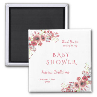 Chic Classy Red Floral Watercolor Baby Shower Magnet