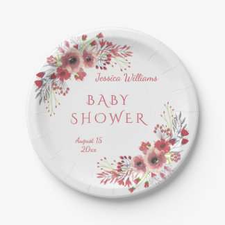 Chic Classy Red Floral Watercolor Baby Shower Paper Plate